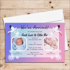 Boy Or Girl Baby Announcement 10 Personalised Stork Twins Boy Girl Birth Announcement Thank You Photo Cards N80