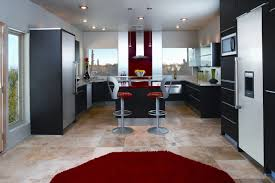 kitchen designs red kitchen furniture modern kitchen. Luxury Red Modern Kitchen Design Combined With Glowing Stainless And Black Furniture Two Lovely Mini Bar Chairs Sweet Rug Create An Designs