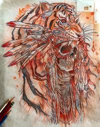 эскиз тату с черепом и тигром Neo эскиз тату тату и татуировки