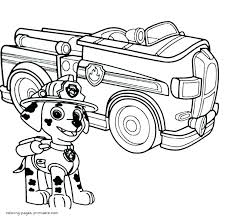 Paw Patrol Coloring Pages Marshall Intended For