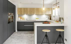 Kitchen Designers Halifax Glacier Super Matt Graphite Mfc Natural Halifax Oak