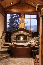 fireplace bathroom large enchanting ideas for the relaxed rustic bathroom model 12