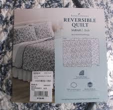 home classics sarah toile reversible king quilt 2 standard shams
