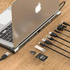 Hub USB C ra 11 cổng dùng cho Macbook Pro, Macbook Air kiêm đế tản nhiệt  nhôm cao cấp