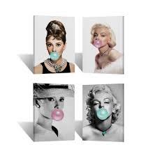 audrey hepburn and marilyn monroe chewing gum canvas print wall art room decor