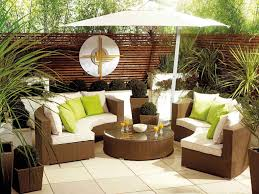 Styling A Round Coffee Table Contemporary Patio Design Ideas With Brown Wicker Curved Sectional