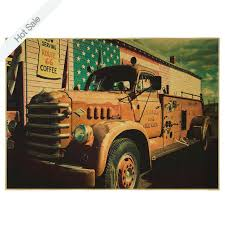 fire truck wall decor vintage dilapidated old truck paper poster retro bar cafe living room home