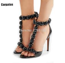 ball shoes. sexy rivets silver ball deco t-strap high heels women sandals wine red black suede shoes n