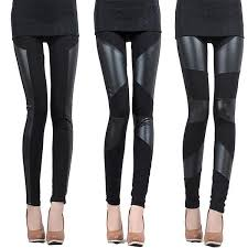 new style y black punk vintage stretch splice faux leather panel leggings pants shiny tights a1
