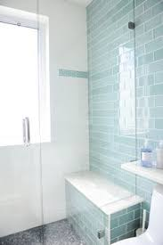 light blue bathroom tiles. Contemporary Bathroom Features A Seamless Glass Walk In Shower Lined With Blue Subway Tiles And Bench Above The Gray Mosaic Light I