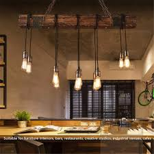46 110v rustic farmhouse furniture wood beam chandelier pendant lighting fixture kitchen dining room bar hotel industrial decor 10 bulbs not included