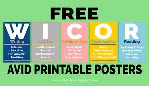 Wicor Avid Posters Free Printables I Heart Teaching Stuff