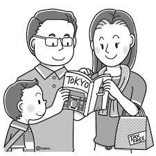 アジア人日本に観光に来た家族のイラストモノクロ 子供と動物の
