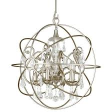 crystorama solaris 5 light swarovski strass crystal silver sphere chandelier