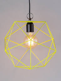 lamps yellow iron wire pendant lamp with powder coated finish jaypore