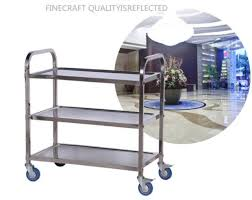 3 tiers silver stainless steel kitchen dining service food utility trolley cart