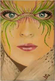 blue eyes behind a mask of green and pink boring straight into your soul
