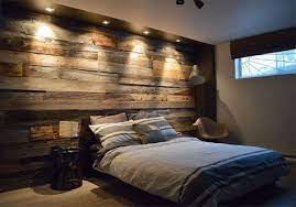 reclaimed wood used in a bedroom as a