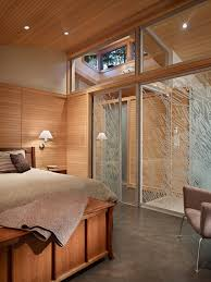 interior sliding glass bedroom midcentury with wood panel wall textured floor
