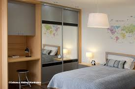 Kids Fitted Bedroom Furniture Grey Black Mirror Sliding Wardrobe With Fitted Desk Kids