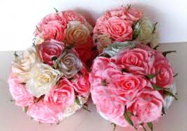 Crepe Paper Flower Balls 4 Pink Blush Peach Coral Crepe Paper Flowers Kissing Balls