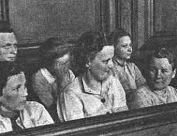 stutthof trials female guards of the stutthof concentration camp at a trial in gdaaring132sk between 25 and 31 1946 first row from left elisabeth becker