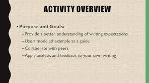 writing self assessment and reflection activity quick question   better understanding of writing expectations use a modeled example as a guide collaborate peers apply analysis and feedback to your own writing