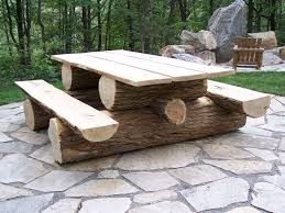 Rustic locust picnic table. Custom made to your specifications. This log  picnic table is