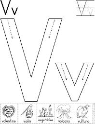 Alphabet Letter V Worksheet | Standard Block Font | Preschool ...