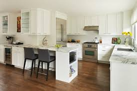 Open kitchen design Hgtv Modern And Bright Open Kitchen Idea With Luxurious White Countertop White Marble Prep Table White Kitchen Wfm 30 Best Small Open Kitchen Designs That Optimize Both Efficiency And
