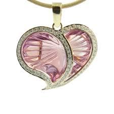 9ct yellow white gold amethyst diamond heart pendant 0