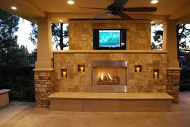 exterior elegant outdoor fireplace ideas and high television mixed with ceiling fan plus lighting
