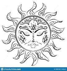 солнце спать татуировки иллюстрация вектора иллюстрации