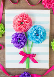 How To Make Flower Out Of Tissue Paper Tissue Paper Flower Bouquet Canvas How To Make Wall Decor