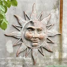 half face sun wall art plaque metal garden hanging indoor outdoor decor 33 5 691023559998