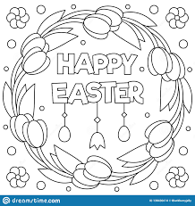 Happy Easter Coloring Page Wreath Vector Illustration Stock