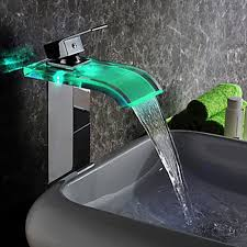 glass bathroom sinks. Contemporary LED Waterfall Hydroelectric Power Glass Bathroom Sink Faucet Chrome Finish(Tall) - FaucetSuperDeal.com Sinks O