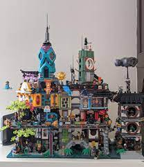 Ninjago City Gardens complete! Also showing off a MOC tower to attach to  these sets.: lego