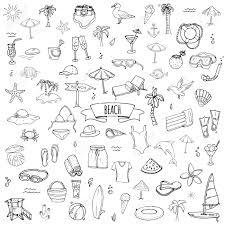 手描き落書きビーチ設定アイコン ベクトル イラスト スケッチ夏バカンス要素コレクション分離休日オブジェク