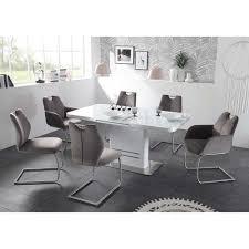 Esszimmer Sitzgruppe Omiera In Hochglanz Weiß Und Grau 7 Teilig