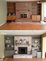 monica s fireplace makeover beautifully whitewashed brick for us grey washed brick with a