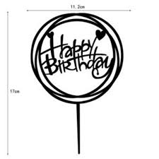 Cake Topper Insert Card Happy Birthday Circle Frame Cake Topper Party Supply Acrylic Cake Decorating Inserting Flag Accessories