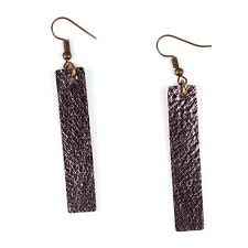 metallic charcoal gray leather strip earrings inspired by joanna gaines