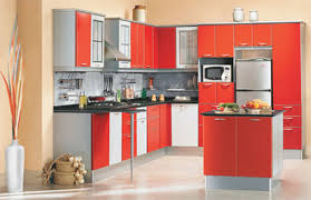 Orange And White Kitchen Easy Kitchen For Small Spaces With Orange Color And White Floor