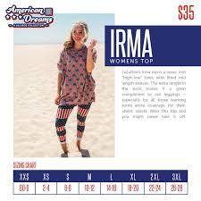Lularoe Irma Sizing Chart Lularoe American Dreams Lularoe
