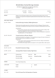 7 Food And Beverage Attendant Resume Samples 2019 Word Pdf