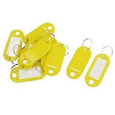 <b>10 Pcs Key ID</b> Label <b>Tags</b> Split <b>Ring</b> Keyring <b>Keychain</b> Yellow ...