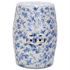 blue and white garden stool. safavieh ceramic blue birds garden stool with pattern and white r