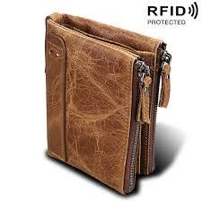 <b>Genuine Cow Leather Men</b> Wallets RFID Double Zipper Card ...