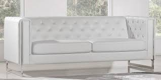 white leather sofa with metal legs